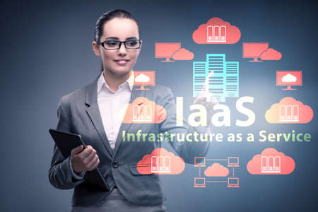 Businesswoman in infrastructure as a service concept