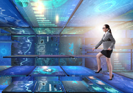 Businesswoman walking in data management concept