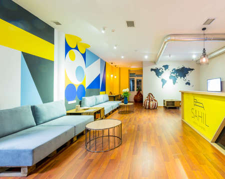 Hotel reception of hostel dormitory Stock Photo