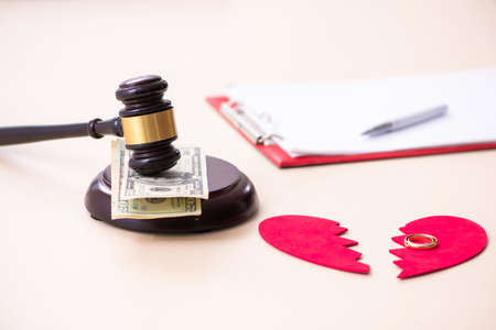 Young couple divorcing in alimony concept Stock Photo