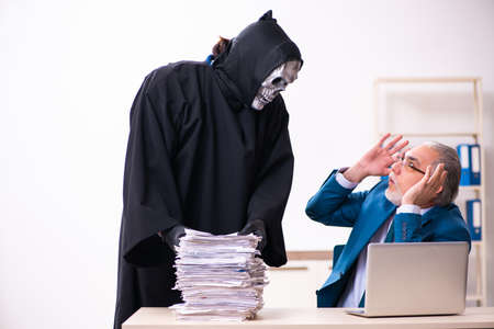 Old businessman employee getting deal with the devil