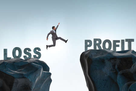Concept of going from loss to profit with businessman