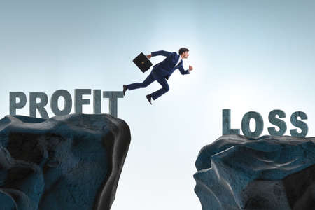Concept of profit and loss with businessman
