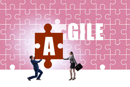 Agile concept with businessman putting jigsaw puzzle together