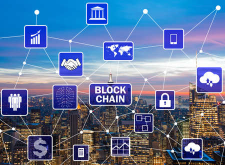 Blockchain concept in database management Reklamní fotografie