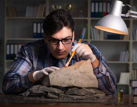 Archeologist working late night in office Stock fotó