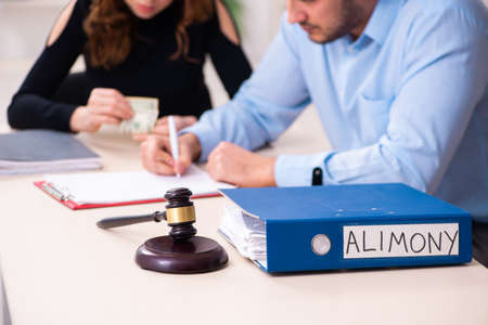 Couple divorcing in alimony concept