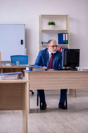 Old male boss employee working in the office