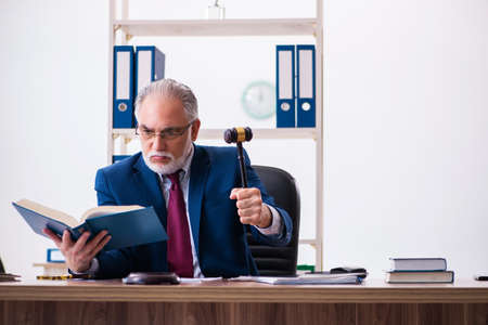 Experienced male judge sitting in the office
