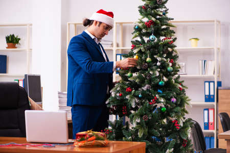 Employee in the office during christmas party