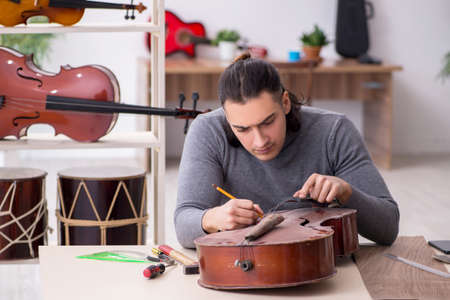 Young male repairman repairing cello 免版税图像