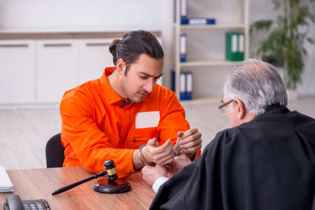 Old male judge meeting with young captive in courthouse 免版税图像