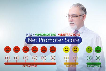 Net Promoter Score NPS concept with businessman pressing virtual Stock fotó