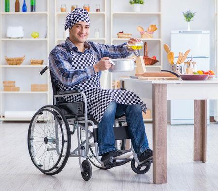 Disabled man preparing soup at kitchen