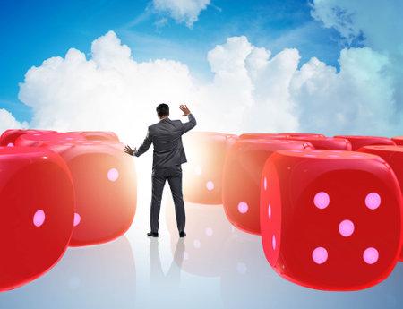 Businessman thinking about chances of business success Banque d'images