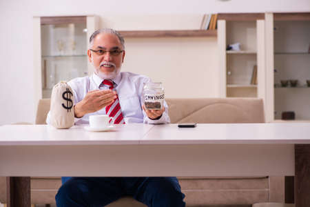 Old male boss employee in retirement concept