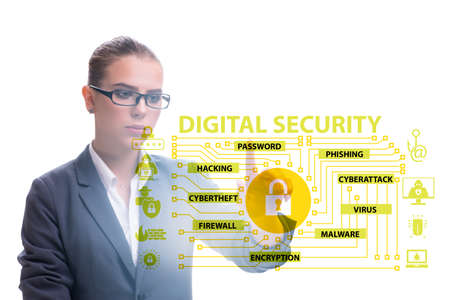 Digital security concept with businesswoman pressing button