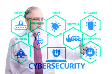 Cybersecurity concept with businessman pressing button
