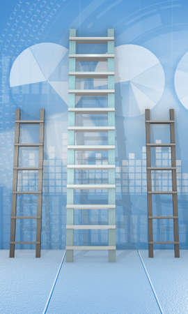 Different ladders in career progression concept - 3d rendering