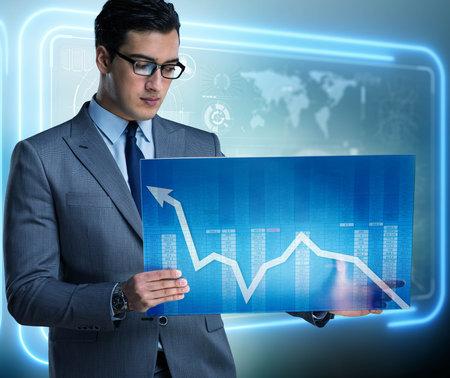 Businessman trading in world stock market