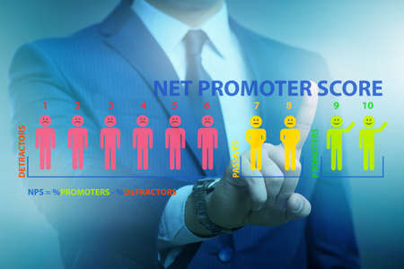 Net Promoter Score NPS concept with businessman pressing virtual