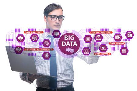 Big data concept with businessman pressing virtual button