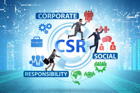 Concept of CSR - corporate social responsibility with businessma Banco de Imagens