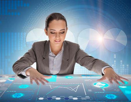 Woman in futuristic data mining concept