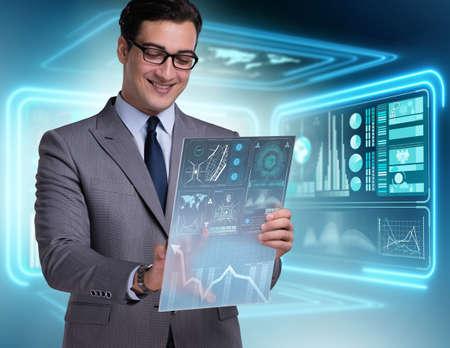 Businessman in big data management concept Foto de archivo