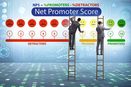 Net Promoter Score NPS concept with businessman Stock fotó