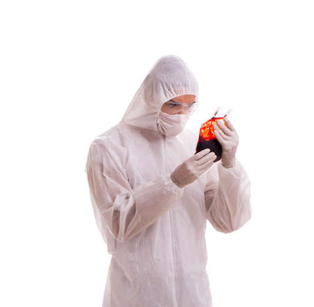 Epidemiologist with blood sample isolated on white background