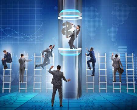 Businessman getting promotion in financial concept 版權商用圖片