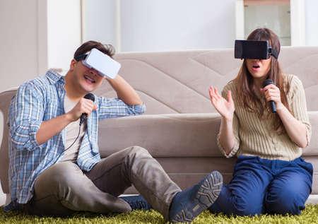 Pair singing karaoke with virtual reality glasses