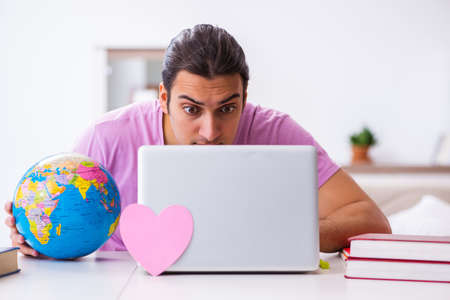 Male student seeking love around the world via Internet