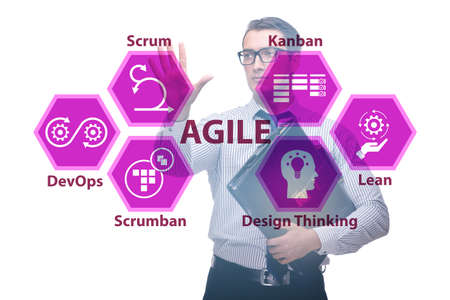 Agile concept with business people pressing buttons Stock Photo