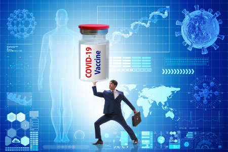 Businessman in covid-19 coronavirus vaccination concept