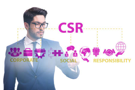 Concept of CSR - corporate social responsibility with businessma Foto de archivo