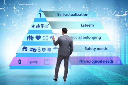 Concept of Maslow hierarchy of needs with businessman Reklamní fotografie