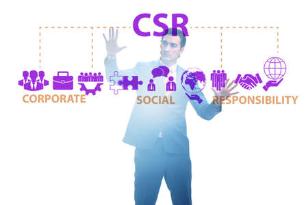 Concept of CSR - corporate social responsibility with businessma Stock Photo