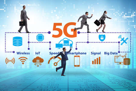 Concept of 5g fast networks with business people