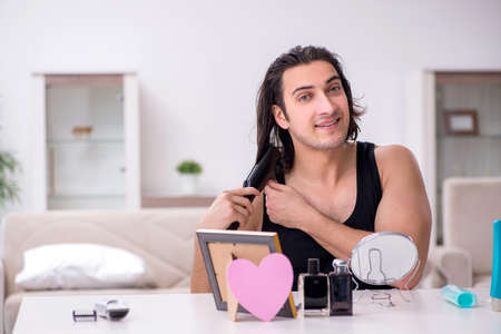 Young handsome man preparing for date Stock Photo