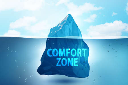 Concept of leaving zone of comfort - 3d rendering Archivio Fotografico