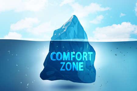 Concept of leaving zone of comfort - 3d rendering Imagens