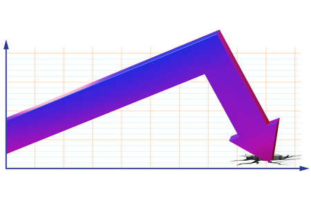 Concept of economic crisis with chart - 3d rendering Zdjęcie Seryjne