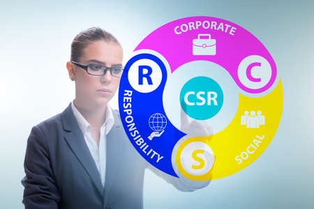 Concept of CSR - corporate social responsibility with businesswoman
