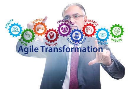 Businessman in agile transformation concept