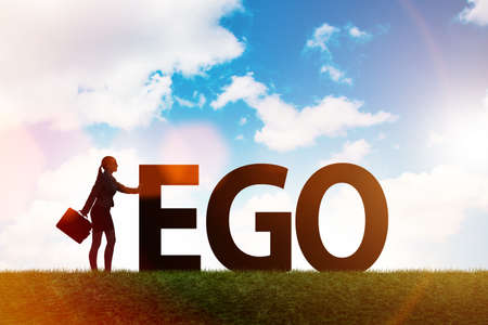 Concept of ego with businesswoman