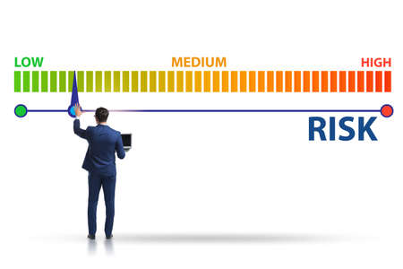 Businessman in the risk metering and management concept Imagens
