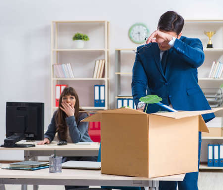 Person being fired from his work 스톡 콘텐츠