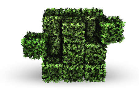 Cube made of green pieces in green concept - 3d rendering